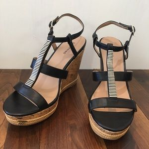 CALL IT SPRING Blingy Strappy Cork Wedge Sandals